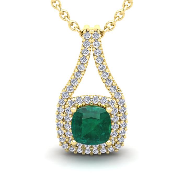2 Carat Cushion Cut Emerald and Double Halo Diamond Necklace In 14 Karat Yel..