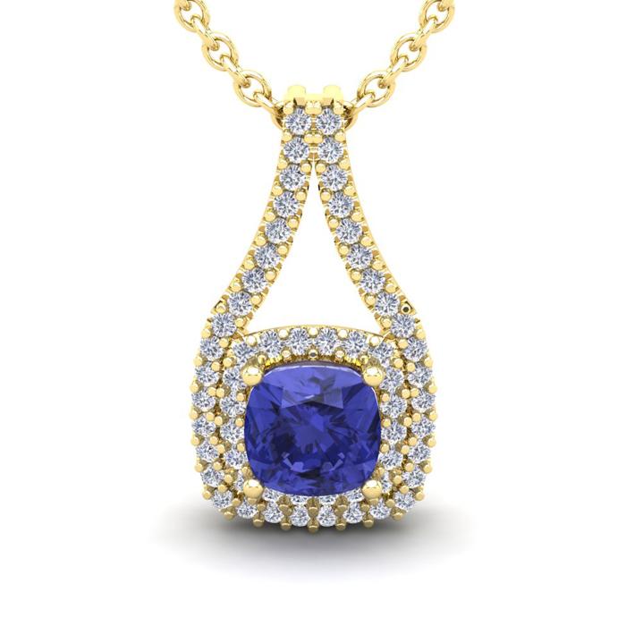 2 Carat Cushion Cut Tanzanite and Double Halo Diamond Necklace In 14 Karat Y..