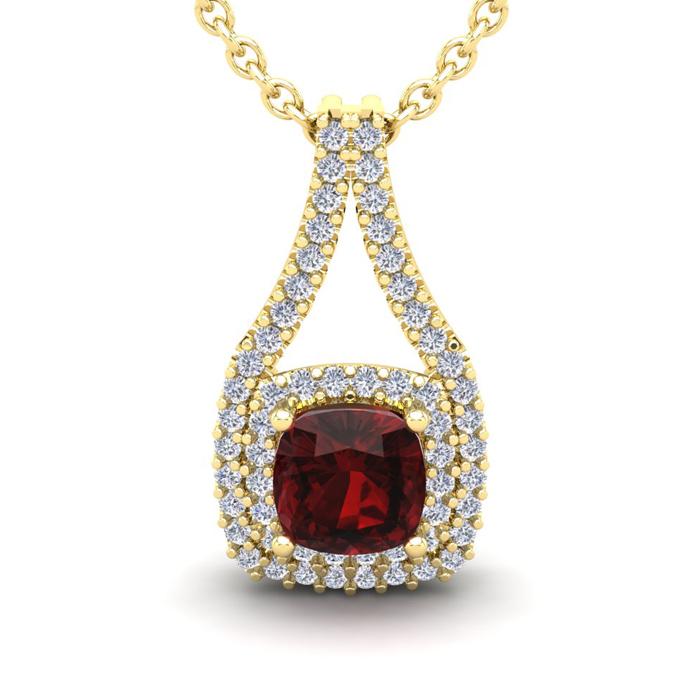 2 Carat Cushion Cut Garnet and Double Halo Diamond Necklace In 14 Karat Yell..