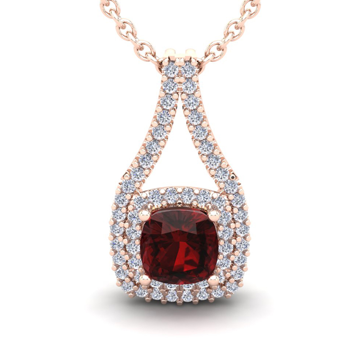 2 Carat Cushion Cut Garnet And Double Halo Diamond Necklace In 14 Karat Rose Gold, 18 Inches