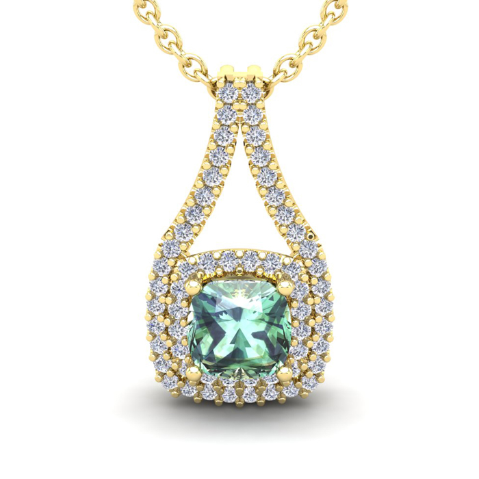 2 Carat Cushion Cut Green Amethyst And Double Halo Diamond Necklace In 14 Karat Yellow Gold, 18 Inches
