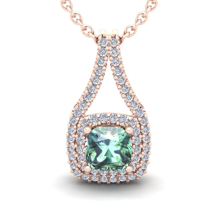 2 Carat Cushion Cut Green Amethyst and Double Halo Diamond Necklace In 14 Ka..