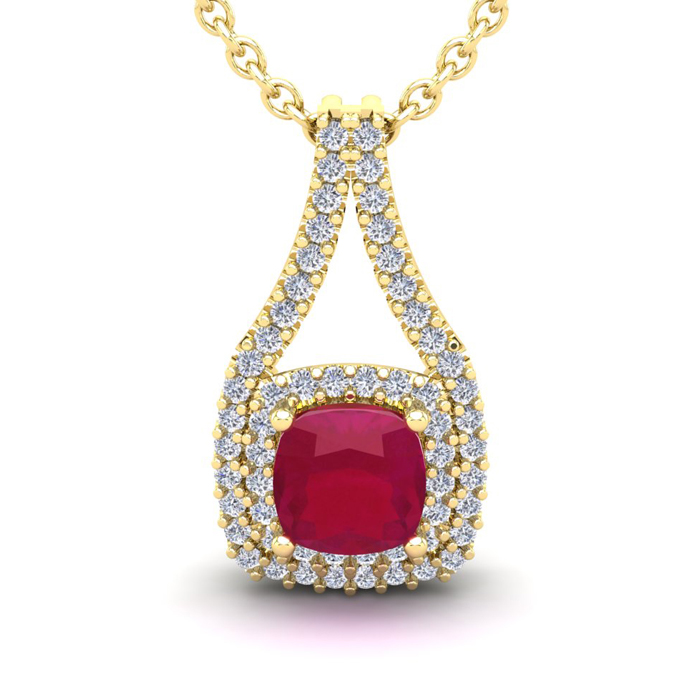 2 1/3 Carat Cushion Cut Ruby And Double Halo Diamond Necklace In 14 Karat Yellow Gold, 18 Inches