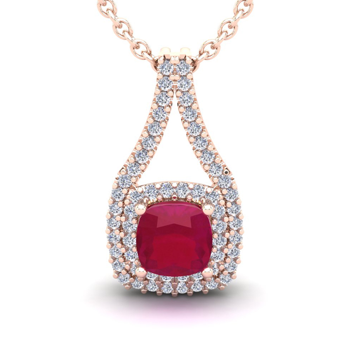 2 1/3 Carat Cushion Cut Ruby and Double Halo Diamond Necklace In 14 Karat Ro..