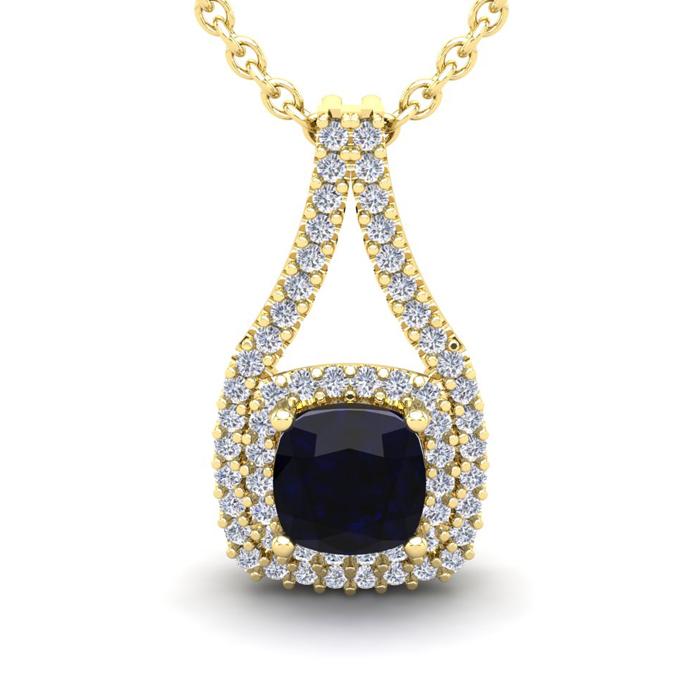2 1/3 Carat Cushion Cut Sapphire and Double Halo Diamond Necklace In 14 Kara..