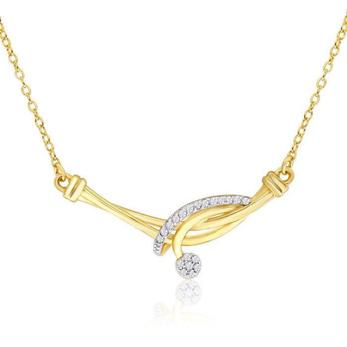 14K Yellow Gold 1/10 Carat Diamond Designer Necklace, 18 Inches