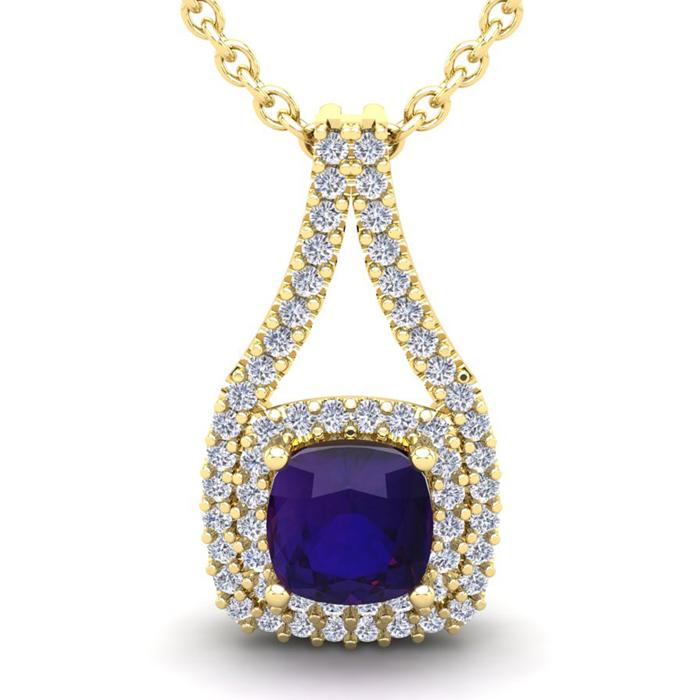 2 3/4 Carat Cushion Cut Amethyst and Double Halo Diamond Necklace In 14 Kara..