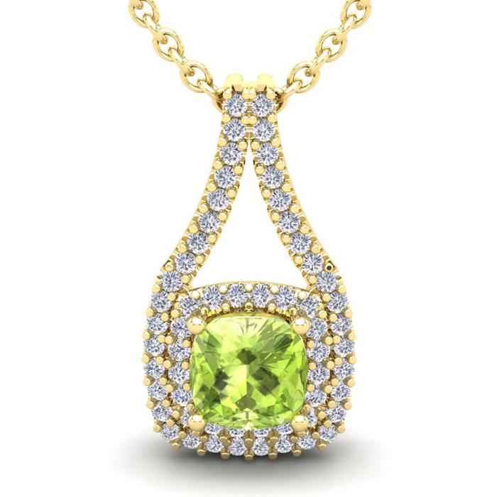 3 1/3 Carat Cushion Cut Peridot and Double Halo Diamond Necklace In 14 Karat..