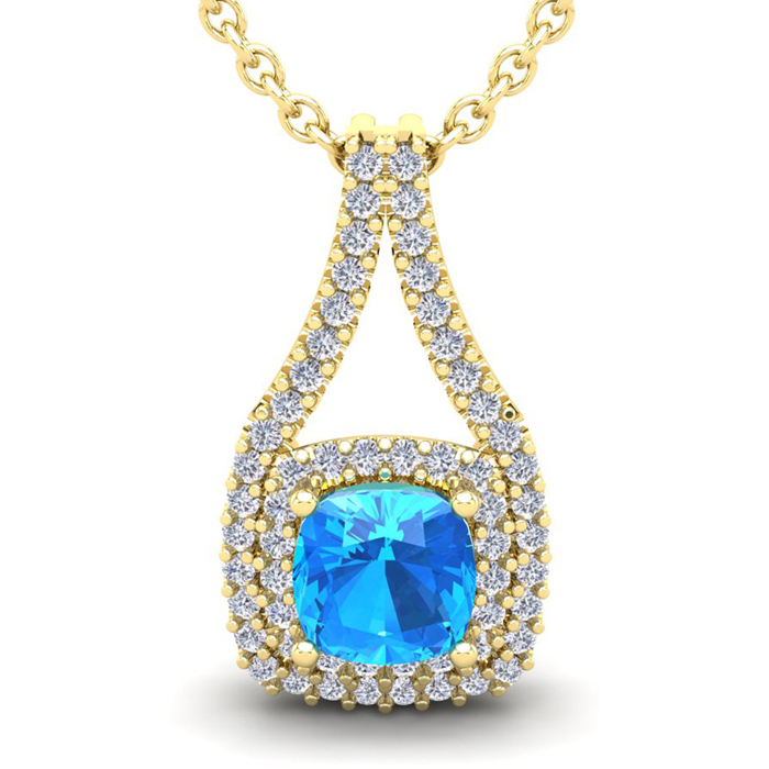3 1/2 Carat Cushion Cut Blue Topaz and Double Halo Diamond Necklace In 14 Ka..