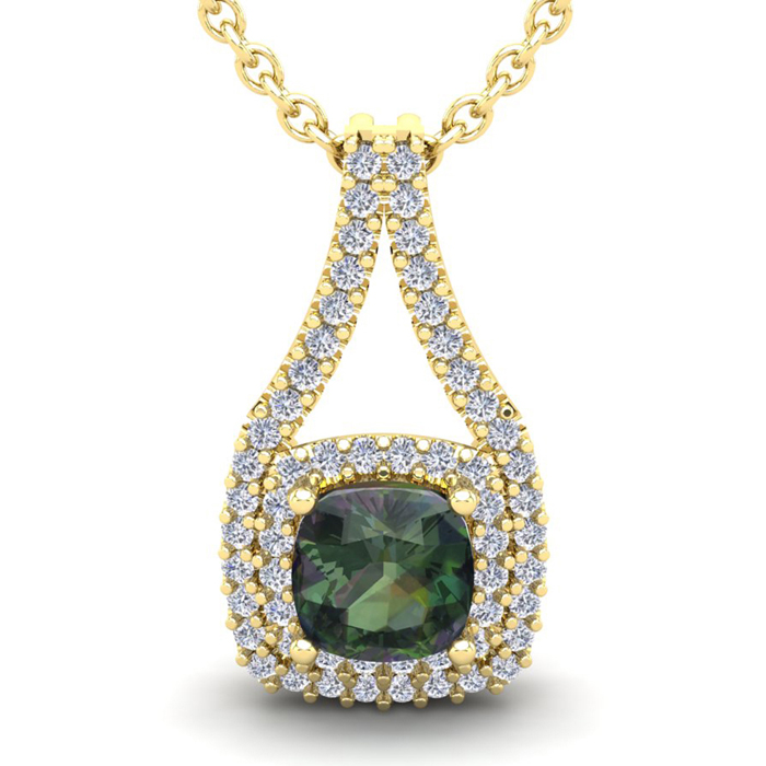 2 3/4 Carat Cushion Cut Mystic Topaz and Double Halo Diamond Necklace In 14 ..