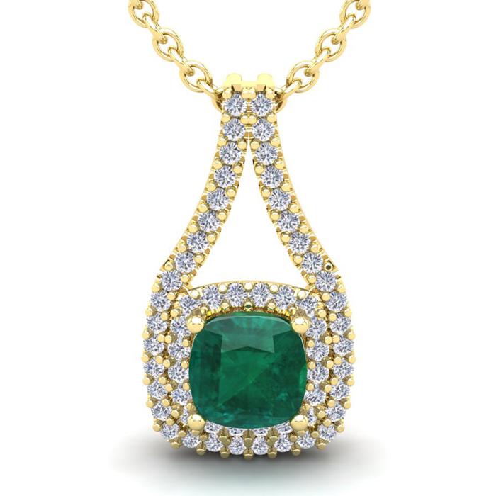 2 3/4 Carat Cushion Cut Emerald and Double Halo Diamond Necklace In 14 Karat..