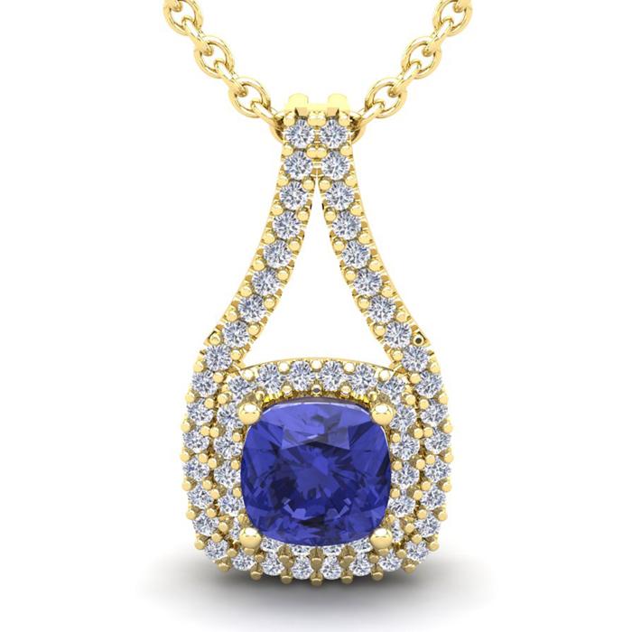 3 1/3 Carat Cushion Cut Tanzanite and Double Halo Diamond Necklace In 14 Kar..