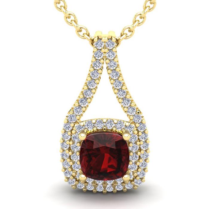 4 Carat Cushion Cut Garnet and Double Halo Diamond Necklace In 14 Karat Yell..