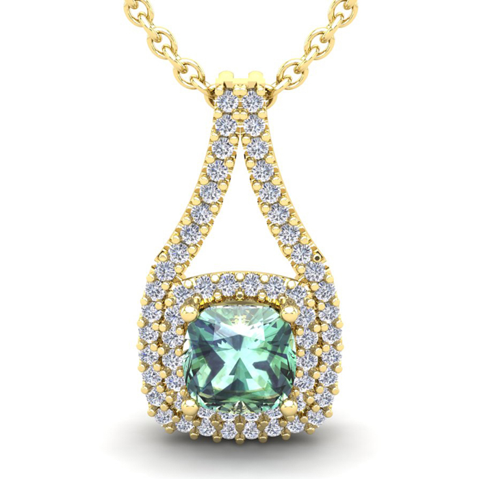 2 3/4 Carat Cushion Cut Green Amethyst and Double Halo Diamond Necklace In 1..