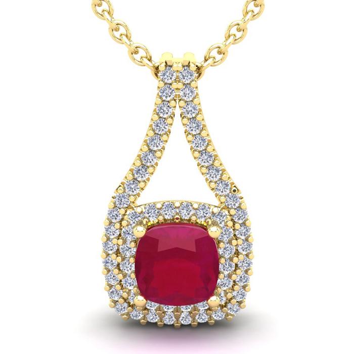 3 3/4 Carat Cushion Cut Ruby and Double Halo Diamond Necklace In 14 Karat Ye..