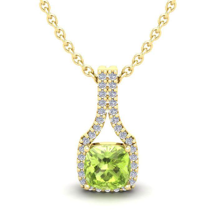 1 1/4 Carat Cushion Cut Peridot and Classic Halo Diamond Necklace In 14 Kara..