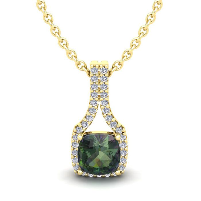 1 1/2 Carat Cushion Cut Mystic Topaz and Classic Halo Diamond Necklace In 14..