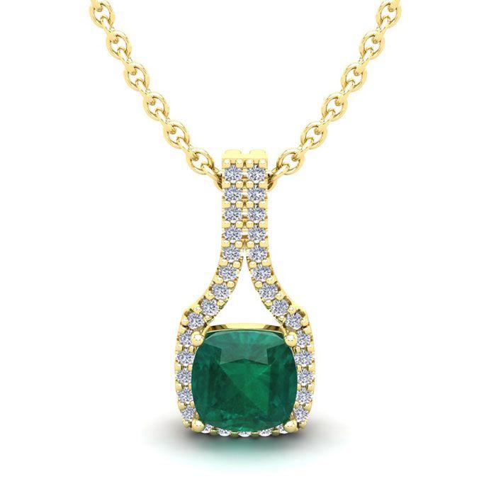 1 1/3 Carat Cushion Cut Emerald and Classic Halo Diamond Necklace In 14 Kara..