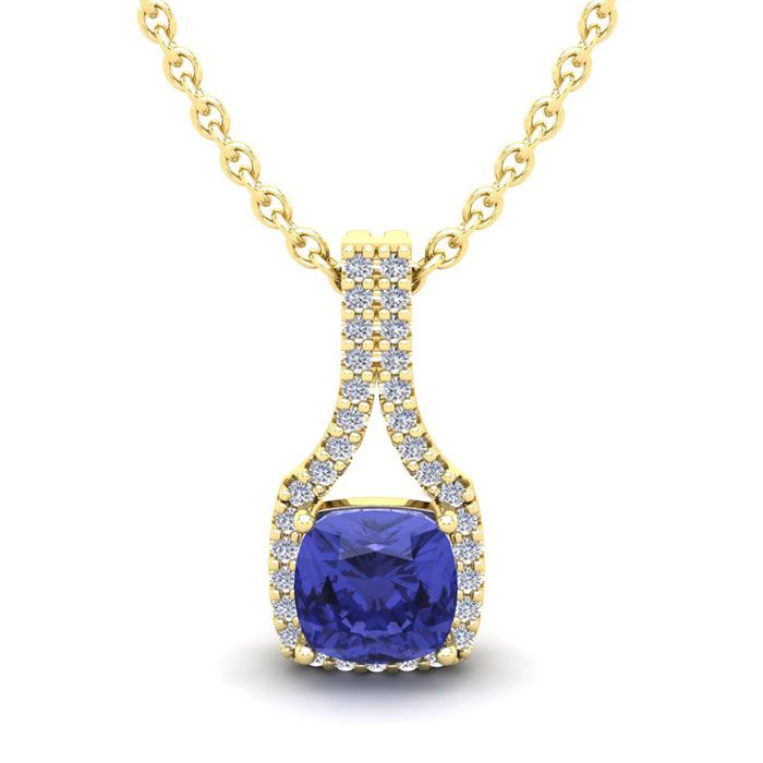 1 1/4 Carat Cushion Cut Tanzanite and Classic Halo Diamond Necklace In 14 Ka..