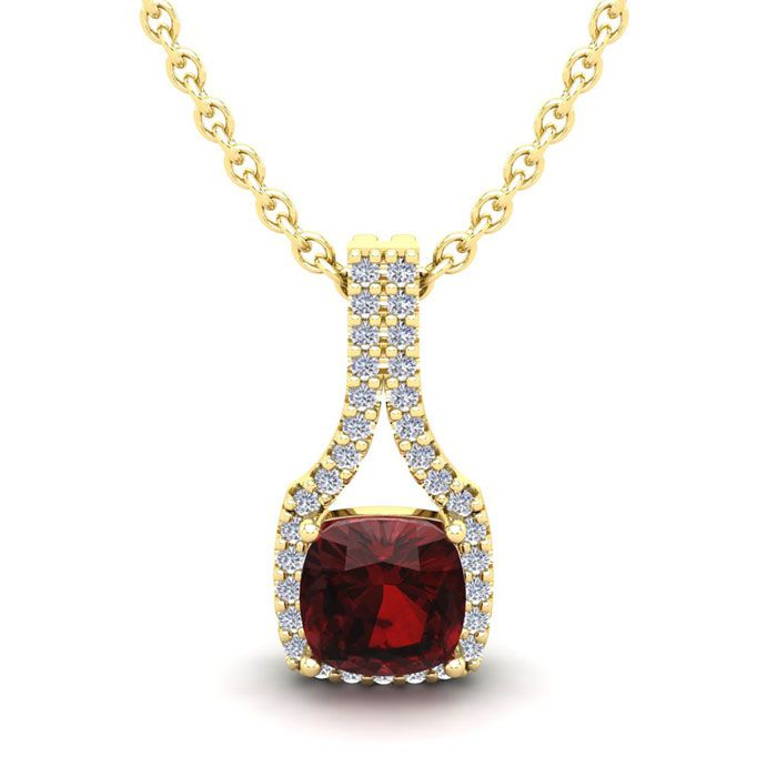 1 1/3 Carat Cushion Cut Garnet and Classic Halo Diamond Necklace In 14 Karat..