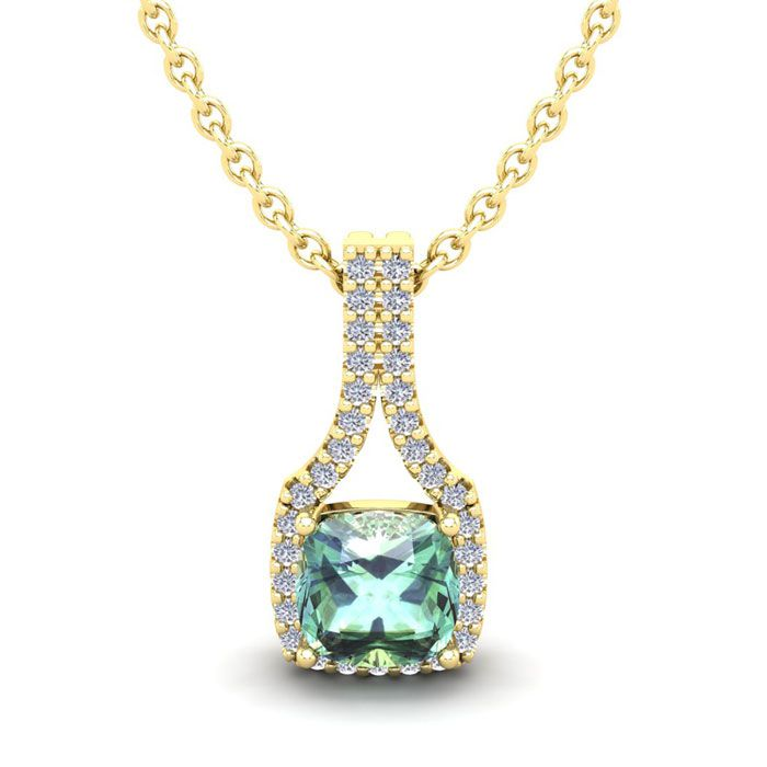 1 Carat Cushion Cut Green Amethyst and Classic Halo Diamond Necklace In 14 K..