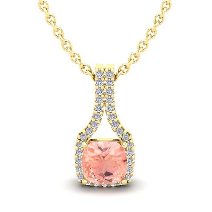 1 Carat Cushion Cut Morganite and Classic Halo Diamond Necklace In 14 Karat ..