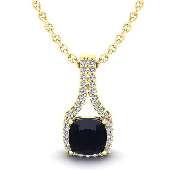 1 1/4 Carat Cushion Cut Sapphire and Classic Halo Diamond Necklace In 14 Kar..