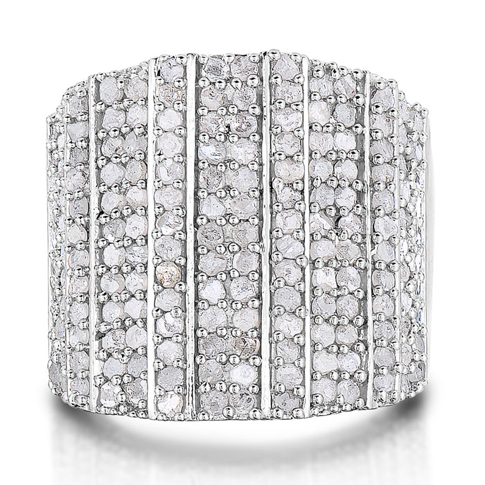 2 Carat 14-Row Diamond Band Ring. UNBELIEVABLE MASSIVE RING.  NATURAL ROUGH CUT DIAMONDS. AMAZING FOR THE MONEY! DIAMOND ARE SEMI-ROUGH, REFLECT, NOT SHINE