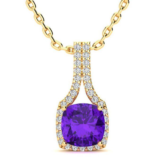 2 Carat Cushion Cut Amethyst and Classic Halo Diamond Necklace In 14 Karat Y..