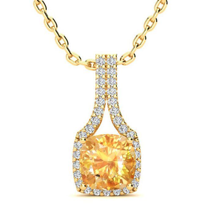 1 3/4 Carat Cushion Cut Citrine and Classic Halo Diamond Necklace In 14 Kara..