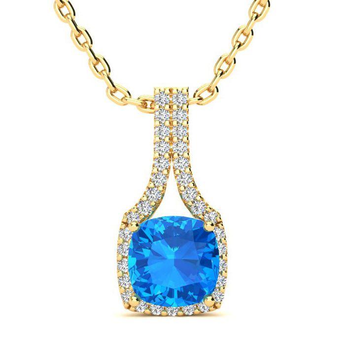 2 Carat Cushion Cut Blue Topaz and Classic Halo Diamond Necklace In 14 Karat..