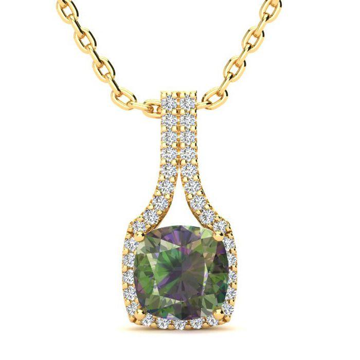 2 Carat Cushion Cut Mystic Topaz and Classic Halo Diamond Necklace In 14 Kar..