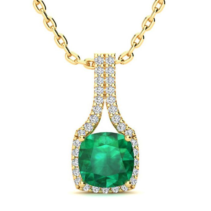 2 Carat Cushion Cut Emerald And Classic Halo Diamond Necklace In 14 Karat Yellow Gold, 18 Inches