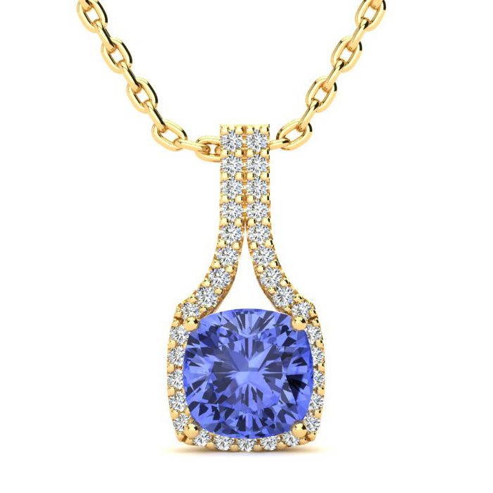 1 3/4 Carat Cushion Cut Tanzanite and Classic Halo Diamond Necklace In 14 Ka..
