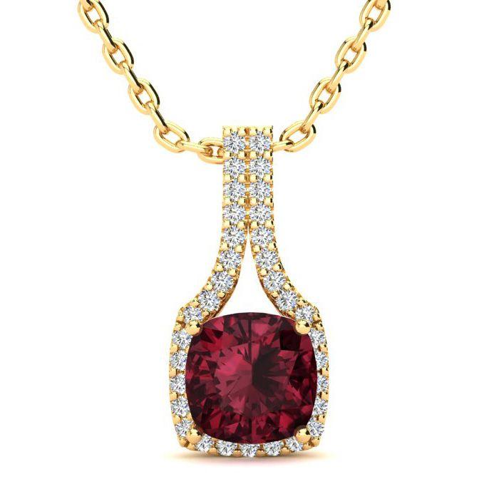 2 Carat Cushion Cut Garnet and Classic Halo Diamond Necklace In 14 Karat Yel..