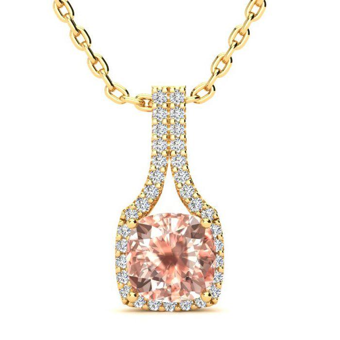 2 Carat Cushion Cut Morganite and Classic Halo Diamond Necklace In 14 Karat ..