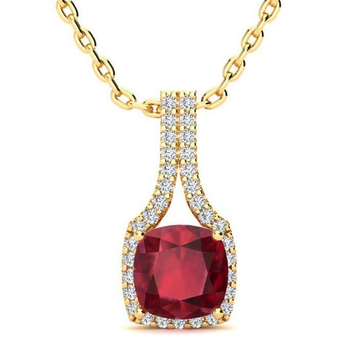 2 Carat Cushion Cut Ruby and Classic Halo Diamond Necklace In 14 Karat Yello..
