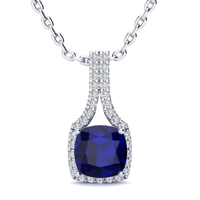 2 Carat Cushion Cut Sapphire And Classic Halo Diamond Necklace In 14 Karat White Gold, 18 Inches