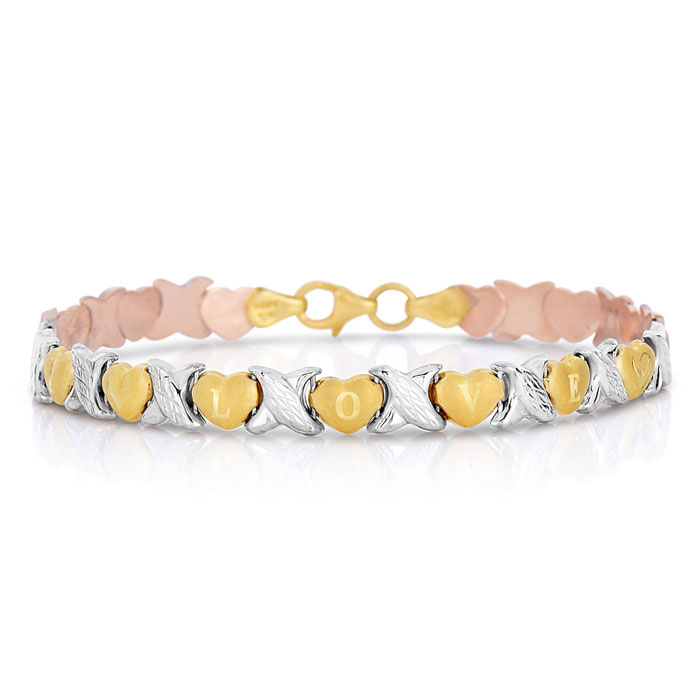 10K Yellow and White Gold I Love You Bracelet, 7 Inches