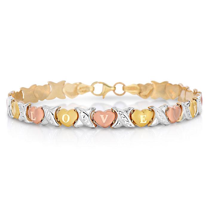10K Gold Tri Tone I Love You Bracelet, 7 Inches