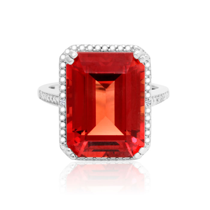 11 Carat Emerald Shape Created Padparadscha Sapphire And Diamond Ring In Sterling Silver