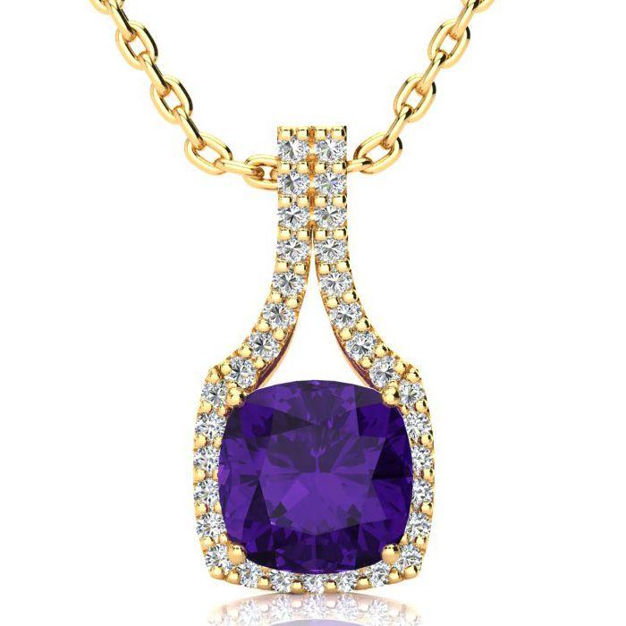 2 1/2 Carat Cushion Cut Amethyst and Classic Halo Diamond Necklace In 14 Kar..