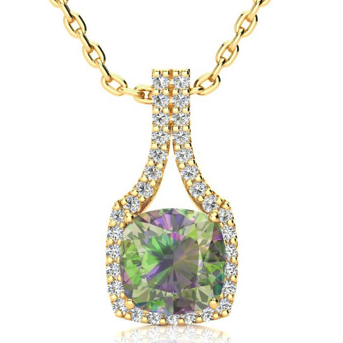 2 1/2 Carat Cushion Cut Mystic Topaz and Classic Halo Diamond Necklace In 14..