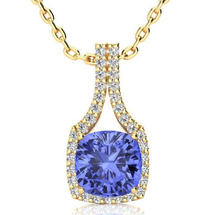 3 Carat Cushion Cut Tanzanite and Classic Halo Diamond Necklace In 14 Karat ..