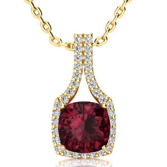 3 1/2 Carat Cushion Cut Garnet and Classic Halo Diamond Necklace In 14 Karat..
