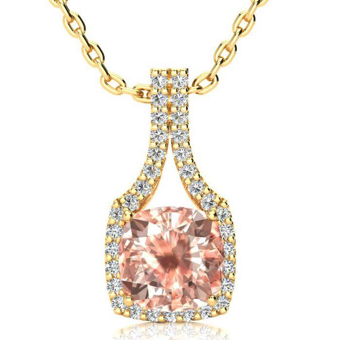 3 1/2 Carat Cushion Cut Morganite and Classic Halo Diamond Necklace In 14 Ka..