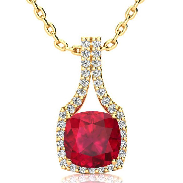 3 1/2 Carat Cushion Cut Ruby and Classic Halo Diamond Necklace In 14 Karat Y..