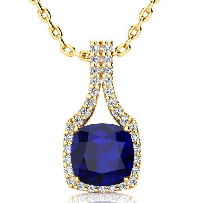 3 1/2 Carat Cushion Cut Sapphire and Classic Halo Diamond Necklace In 14 Kar..