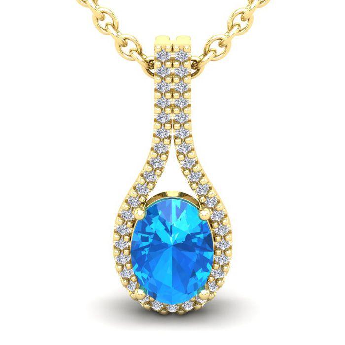 1 3/4 Carat Oval Shape Blue Topaz and Halo Diamond Necklace In 14 Karat Yell..