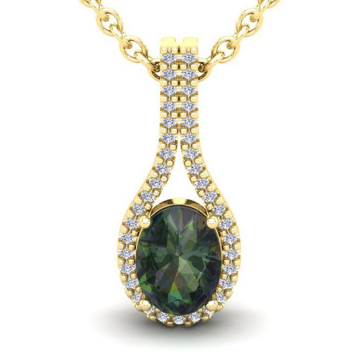 1 1/4 Carat Oval Shape Mystic Topaz and Halo Diamond Necklace In 14 Karat Ye..